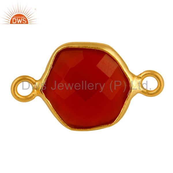 18k gold plated sterling silver red onyx bezel set gemstone bezeled connectors