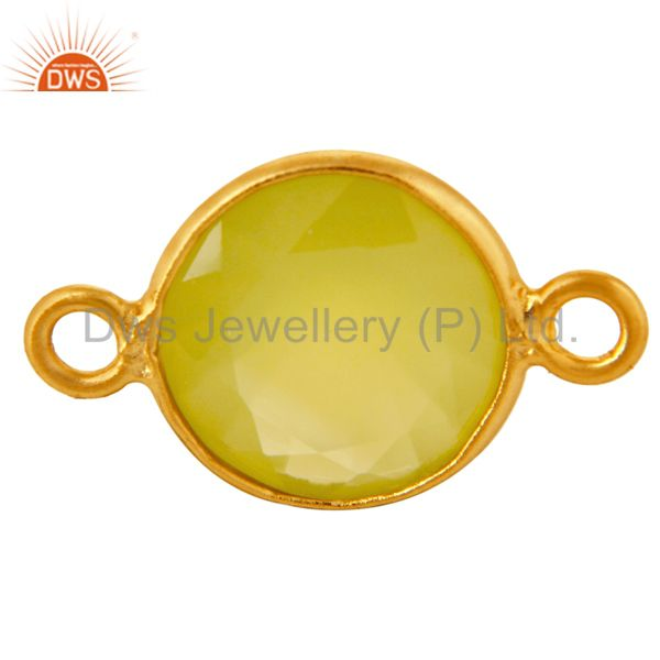 14K Gold Plated Sterling Silver Yellow Chalcedony Bezel Setting Stone Connector