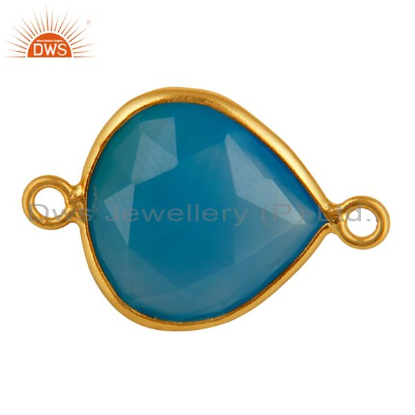 Dyed Aqua Blue Chalcedony Gemstone Bezel-Set Connector In 18K Gold On 925 Silver
