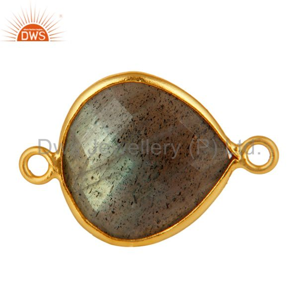 18K Gold Plated Sterling Silver Bezel-Set Labradorite Gemstone Connector