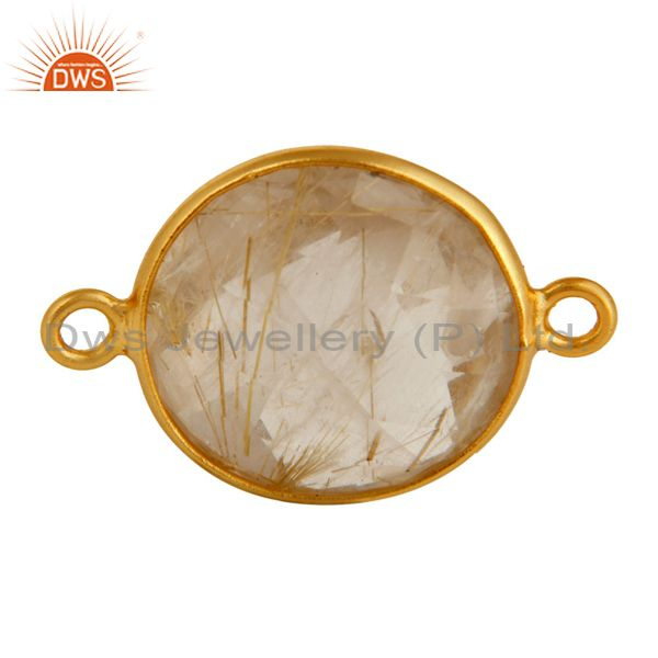 Golden Rutile Quartz Gold Plated Sterling Silver Gemstone Bezels charm Connector