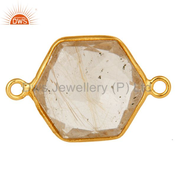 Bezel-set golden rutilated quartz gemstone gold plated sterling silver connector