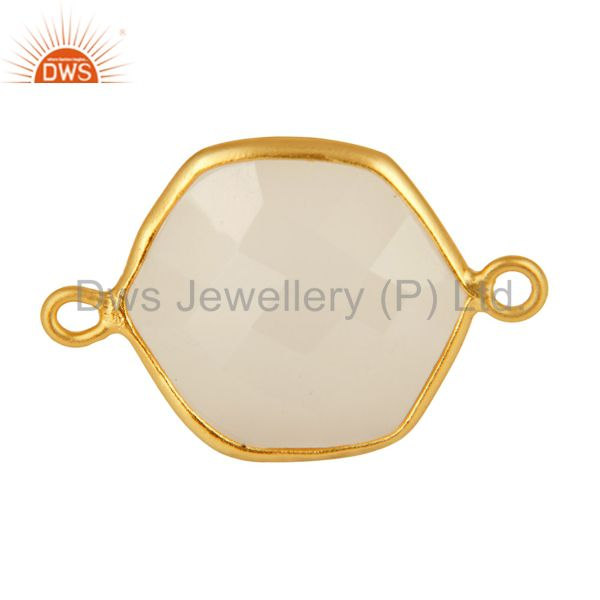 Gold plated sterling silver faceted white chalcedony gemstone connector