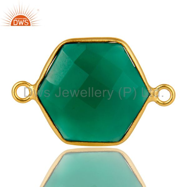 18k yellow gold plated sterling silver green onyx bezel setting connector jewelr