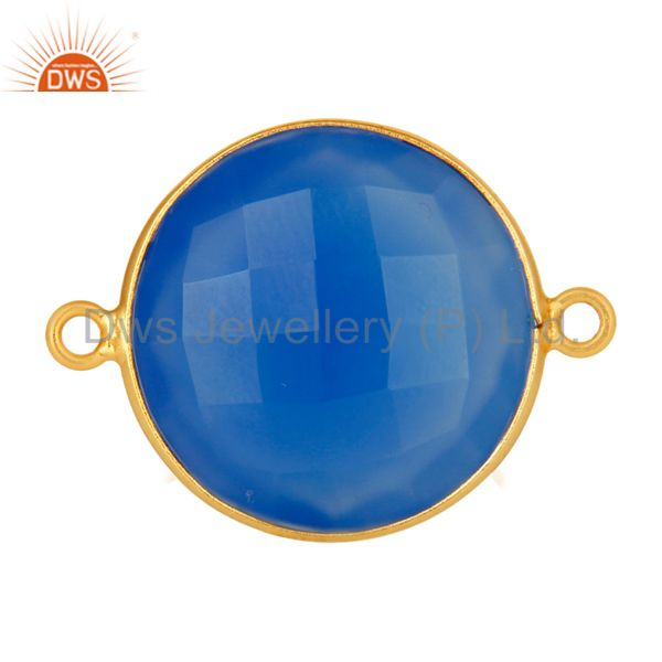 Dyed Blue Chalcedony Gold Plated Sterling Silver Bezel Set Connector