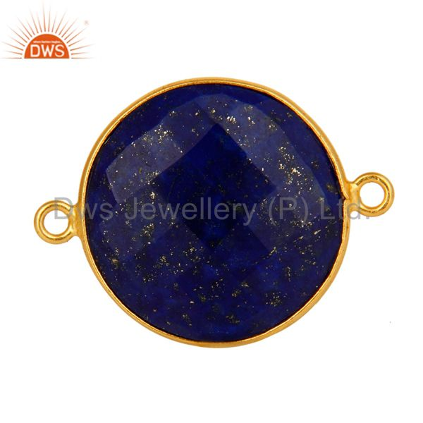 925 sterling silver natural lapis lazuli gemstone connector with gold plated