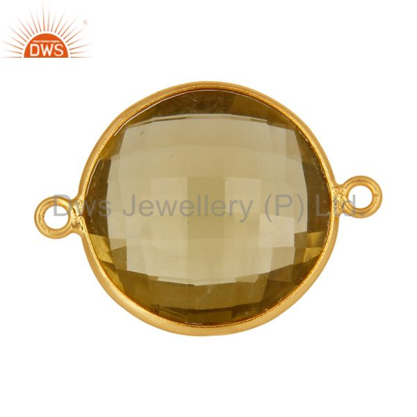 925 sterling silver natural lemon topaz gemstone connector with gold plated