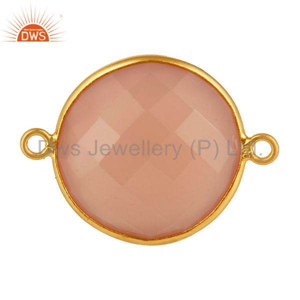 Faceted Rose Chalcedony Gemstone Sterling Silver Bezel Connector - Gold Plated