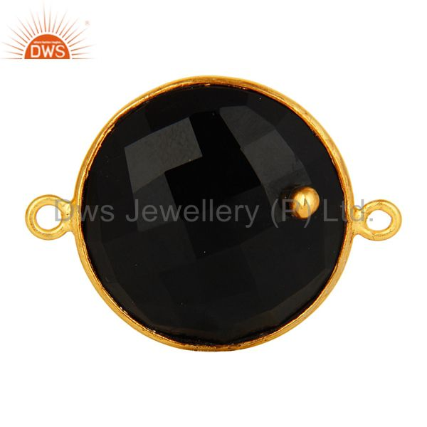 18K Gold Plated Silver Black Onyx Gemstone Bezel Set Gemstone Connector