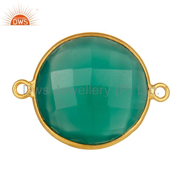 18k gold plated sterling silver 20mm round green onyx gemstone bezel connector