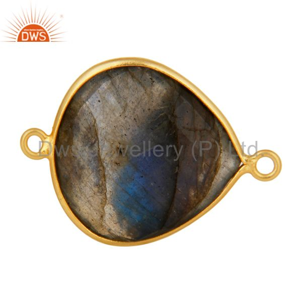 18K Yellow Gold Plated Sterling Silver Bezel-Set Labradorite Connector Jewelry