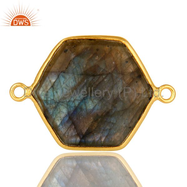 18K Yellow Gold Plated Sterling Silver Labradorite Bezel Setting Connector
