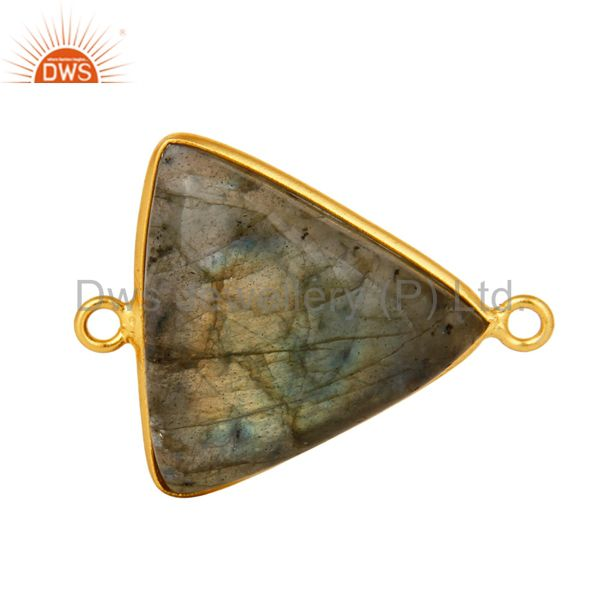 Natural Labradorite Gemstone Sterling Silver Connector With Yellow Gold Plated