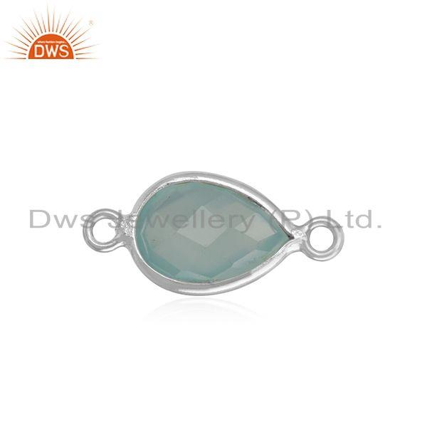 Handcrafted Jewelry Connector In Silver 925 with Aqua Chalcedony