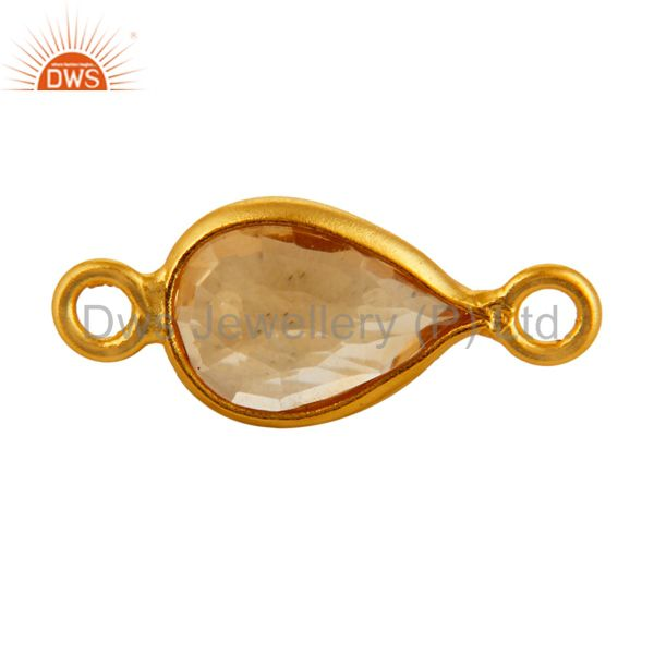 18K Gold Plated Sterling Silver Citrine Bezeled Gemstone Double Link Connector