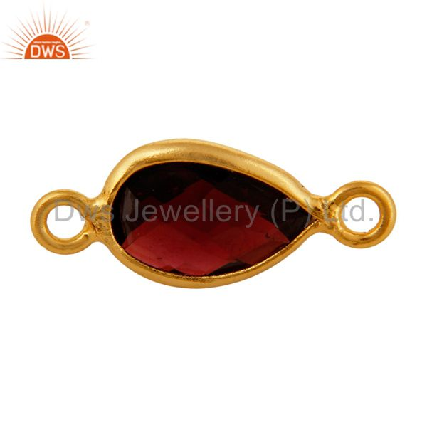 18K Gold Plated Sterling Silver Garnet Bezel-Set Gemstone Double Link Connector