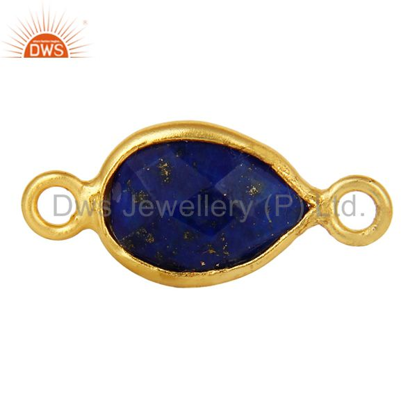 Lapis Lazuli Gemstone Bezel Set Gemstone Connector Made In 18K Gold Over Silver