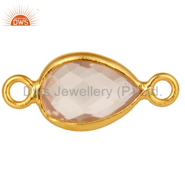 Rose Quartz Gemstone Bezel Connector Made In 18K Gold Over Sterling Silver