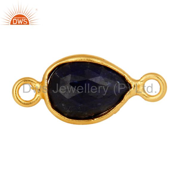 Faceted Sapphire Blue Corundum Sterling Silver Connector With 18K Gold Plated