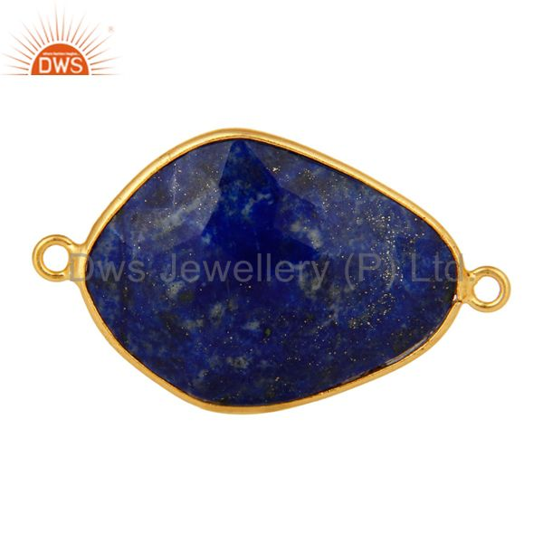 18K Yellow Gold Plated Sterling Silver Lapis Lazuli Gemstone Connector