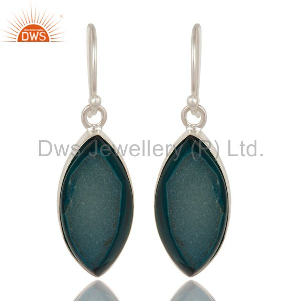 Natural Blue Druzy Agate Sterling Silver Bezel-Set Dangle Earrings