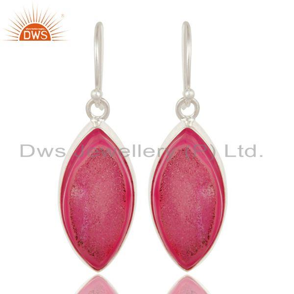 Handcrafted Elegant Silver 925 Earring with Pink Natural Druzy