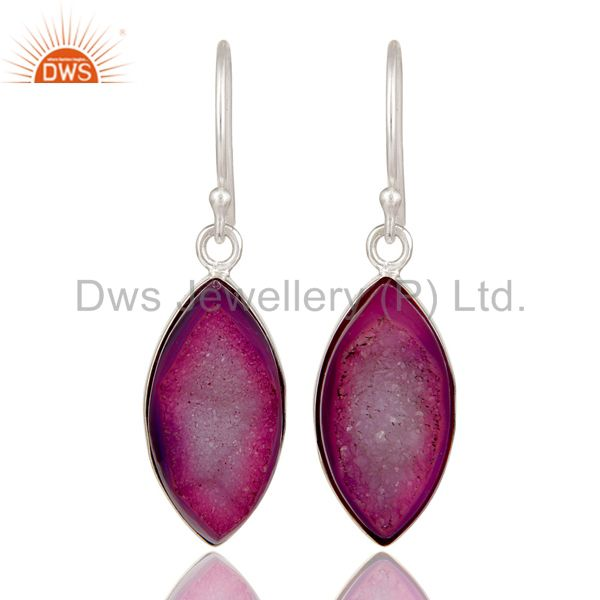 Handmade 925 Sterling Silver Natural Purple Druzy Agate Bezel-Set Dangle Earring