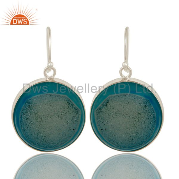 Round Natural Druzy Agate Sterling Silver Bezel-Set Hook Earrings