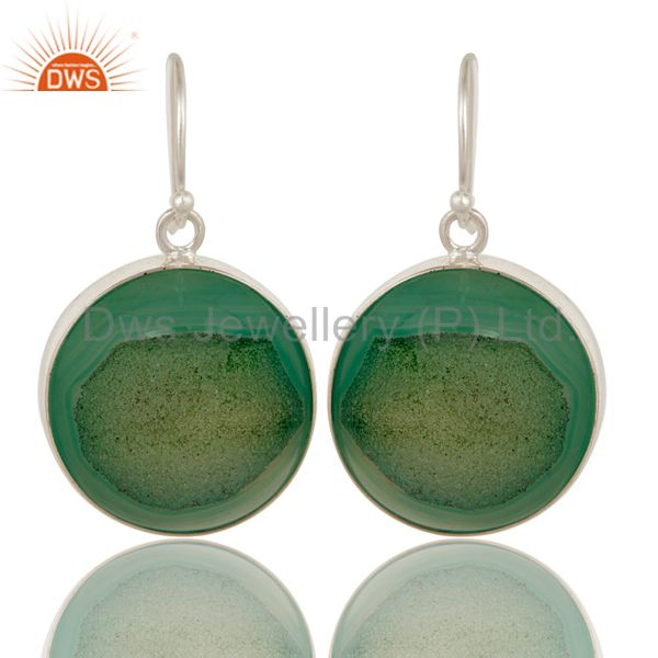 Round Natural Green Druzy Agate Sterling Silver Bezel-Set Earrings For Women