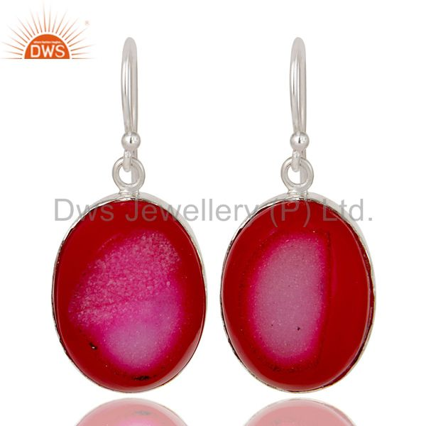 925 Sterling Silver Pink Druzy Agate Bezel Set Dangle Earrings