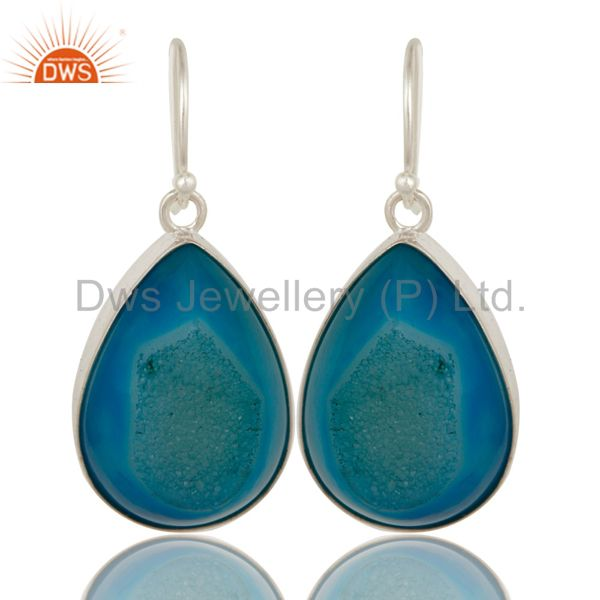 Natural Blue Druzy Agate Sterling Silver Bezel-Set Drop Earrings For Women