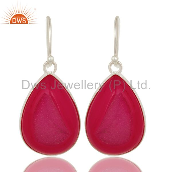 Natural Pink Druzy Agate Sterling Silver Bezel-Set Drop Earrings