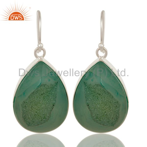 Natural Green Druzy Agate Sterling Silver Womens Bezel Set Drop Earrings
