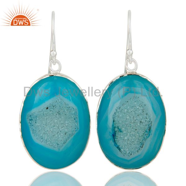 Natural Blue Druzy Handmade Sterling Silver Drop Earring