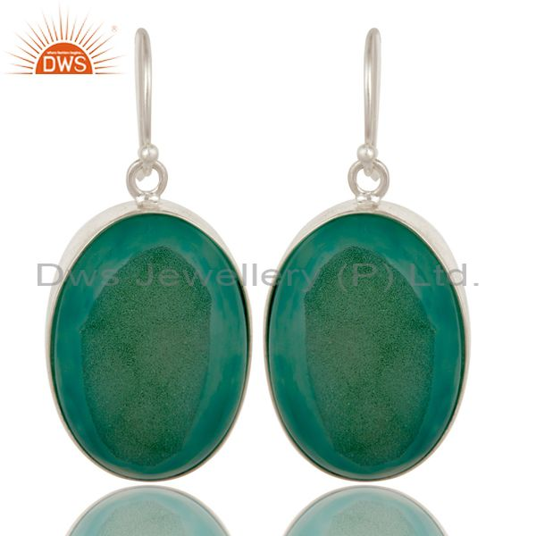 Handmade Solid Sterling Silver Drop Earrings with Bezel Set Green Druzy Agate