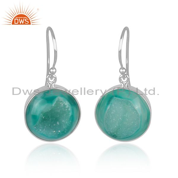 Genuine Sterling Silver Light Green Druzy Agate Round Bezel Set Hook Earrings