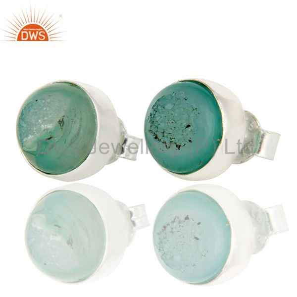 925 Sterling Silver Natural Green Druzy Bezel-Set Stud Earrings For Women