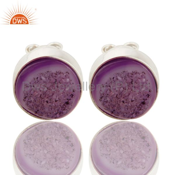 Natural Purple Druzy Agate Stud Earrings In Sterling Silver