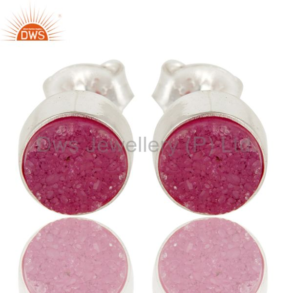 Natural Pink Druzy Agate Sterling Silver Womens Fashion Earrings