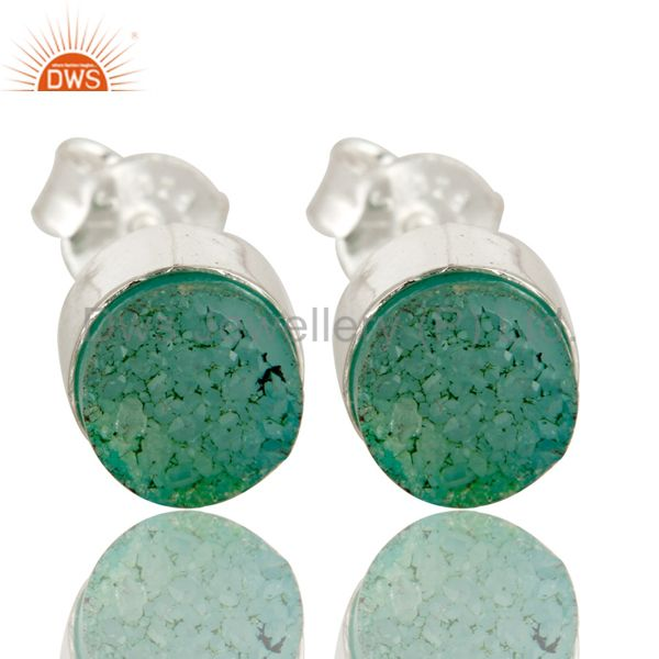 Natural Green Druzy Agate Sterling Silver Stud Earrings