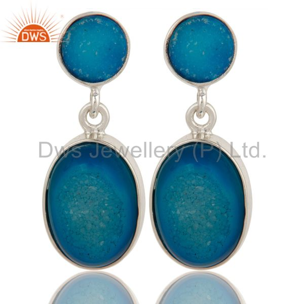 Natural Druzy Agate Sterling Silver Bezel-Set Dangle Earrings