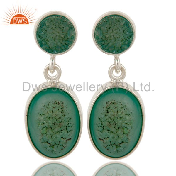 Natural Green Druzy Agate Sterling Silver Handmade Dangle Earrings