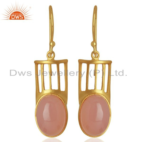 Natural Rose Quartz Gemstone Designer Earrings - Yellow Gold Plated
