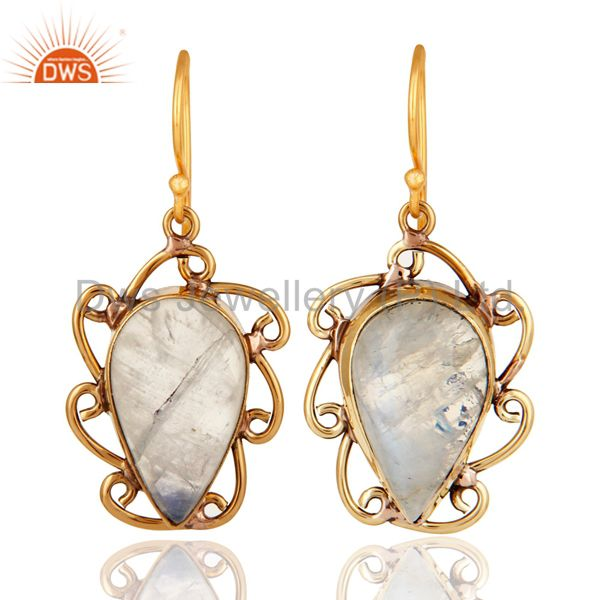 Handmade Rainbow Moonstone Designer Earrings Made In 18K Gold On Brass