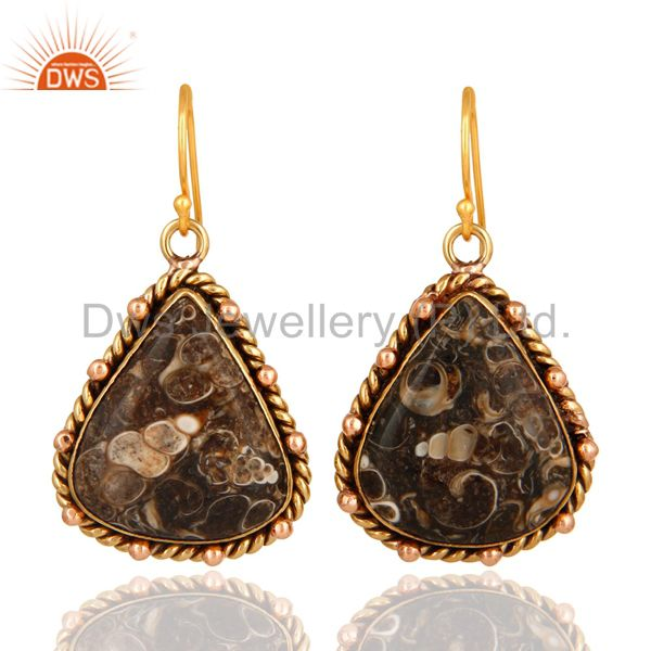 Natural Turritella Agate Gemstone Drop Earrings - Yellow Gold Plated