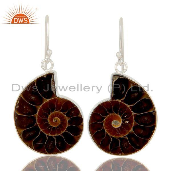 Handmade Solid Sterling Silver Ammonite Gemstone Bezel Set Drop Earrings