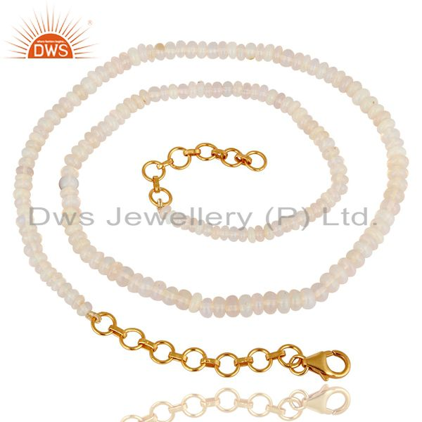 Natural Fire Opal Gemstone Beads 18K Gold Plated Sterling Silver Necklace