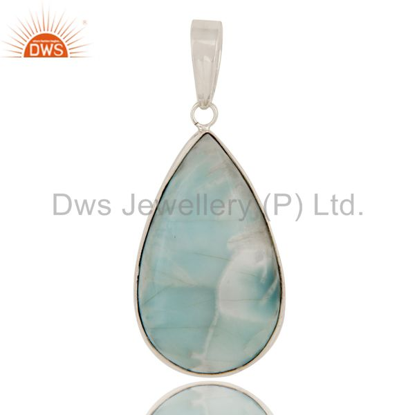 Natural Larimar Gemstone 925 Sterling Silver Bezel Set Drop Pendant Jewelry