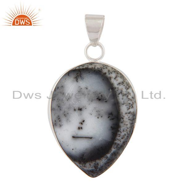 Natural Dendritic Opal Gemstone Bezel Set 925 Sterling Silver Handmade Pendant