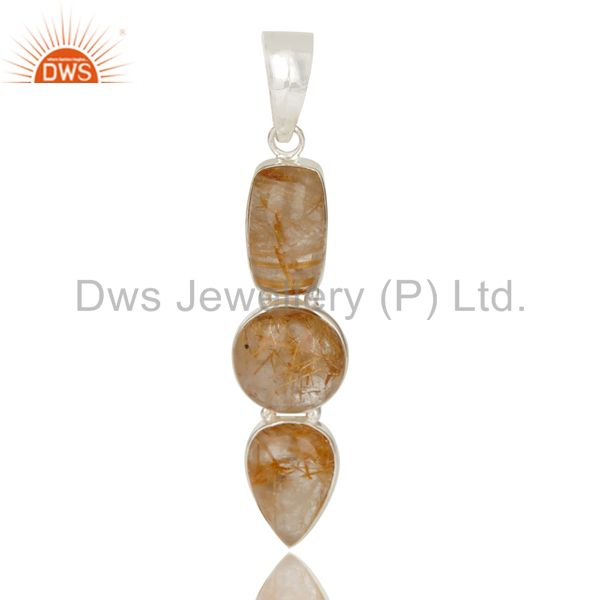 Natural Rutilated Quartz Gemstone Handmade 925 Sterling Silver Pendant Jewelry